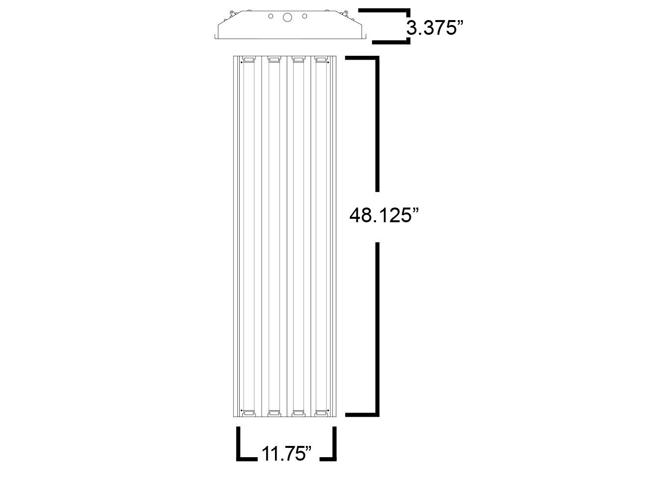 Four Bros Lighting Hb 4 T5 Bay Lamp Fluorescent Fixture Table Wiring Diagram High Output Ho 120 277v Commercial
