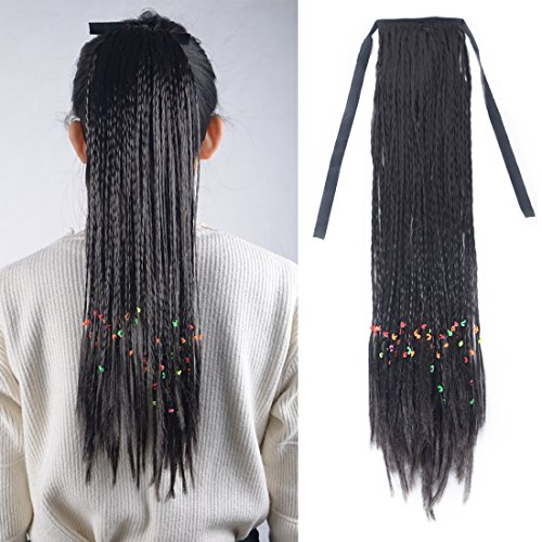 "Burhair 20"" Long Straight Braids Ponytail Clip in Hair Extensions for Women Synthetic Hairpiece 80g 2# Natural Black"