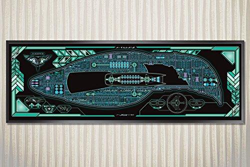 Romulan Warbird - D'deridex Class Starship LCARS Poster (36 x 11.75 Panoramic) (Romulan Ship)