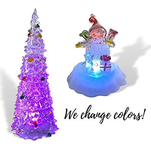 BANBERRY DESIGNS LED Christmas Tree and Snowman - Set of 2 Acrylic Xmas Table Top Holiday Decorations - Color Changing Winter Figurine