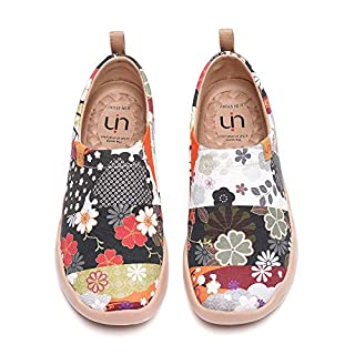 UIN Women's Casual Loafers Travel Painted Walking Slip On Lightweight Comfortable Canvas Fashion Sneakers Hana (38)
