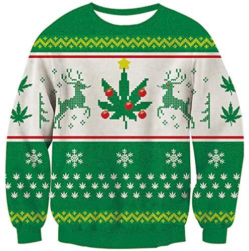 Goodstoworld Ugly Christmas Green Reindeer Sweater Men Women Ugliest Xmas Sweatshirt Youth Teen Warm 3D Green Reindeer Leaf Graphic Print Jumper Shirt Clothes Medium (Jumpers Ugliest Christmas)