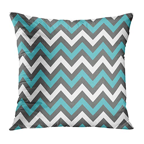 TOMKEYS Throw Pillow Cover Blue Teal White Charcoal and Turquoise Chevron for Albums Graphics and Scrapbooks Colorful Abstract Decorative Pillow Case Home Decor Square 18x18 Inches Pillowcase