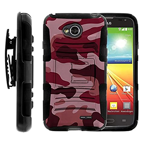 LG Ultimate 2 Case, LG Ultimate 2 Holster, Two Layer Hybrid Armor Hard Cover with Built in Kickstand for LG Optimus L70 MS323, LG Optimus Exceed 2 VS450PP, LG Realm LS620, LG Ultimate 2 L41C (Metro PCS, Verizon, Boost Mobile) from MINITURTLE   Includes Screen Protector - Red (Lg Optimus Cell Phone Holster)