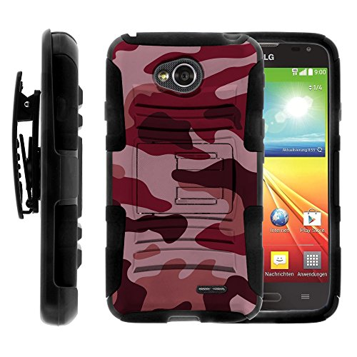 LG Ultimate 2 Case, LG Ultimate 2 Holster, Two Layer Hybrid Armor Hard Cover with Built in Kickstand for LG Optimus L70 MS323, LG Optimus Exceed 2 VS450PP, LG Realm LS620, LG Ultimate 2 L41C (Metro PCS, Verizon, Boost Mobile) from MINITURTLE | Includes Screen Protector - Red Camouflage