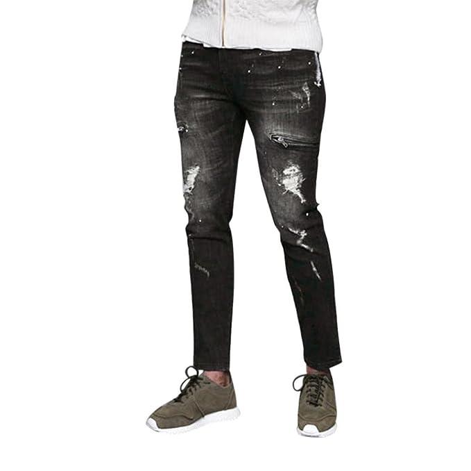 Pantalone Uomo Streetwear Hip Hop di Jeans Strappati da Uomo a5e821ca25f4