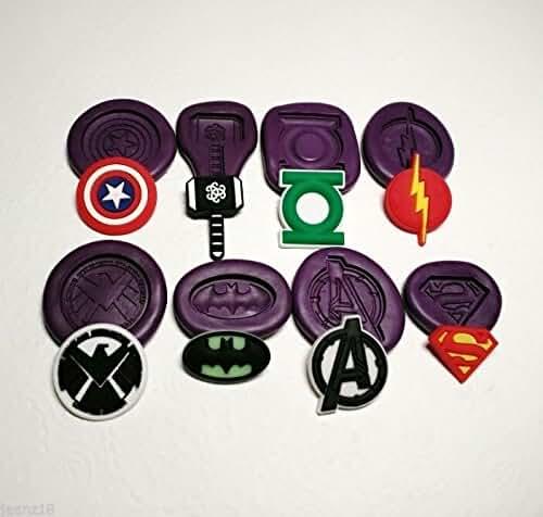 Silicone Molds Small Marvel Avengers Superheroes Logo Set - Fondant Clay PMC