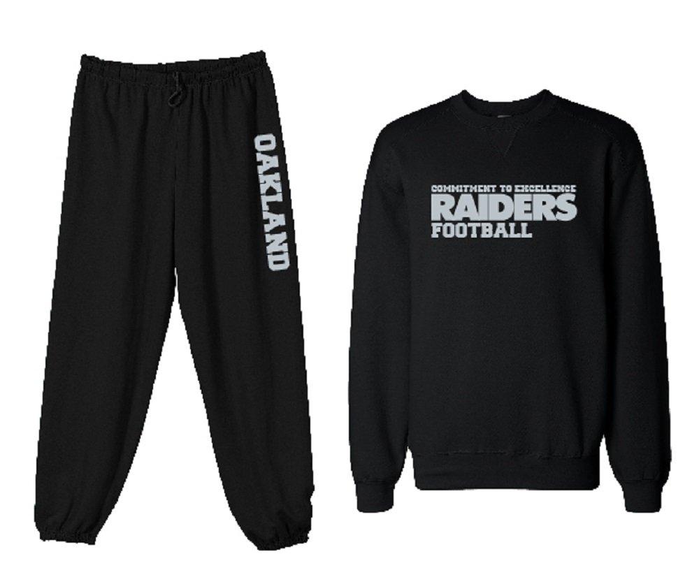 c410e3cf4 Amazon.com : Unisex Mens Womens Custom Black Raiders Commitment to  Excellence Football Sweatshirt Sweatpants Set Personalization Available :  Sports & ...