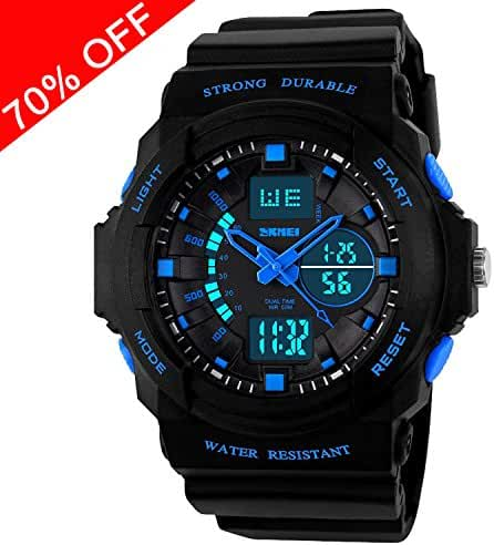 Viliysun Kid LED Watch Child Boy Girl Sport Multi Function Digital Waterproof Electronic Quartz Watches Blue