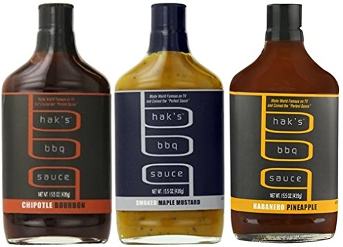 Hak's BBQ Sauce 15.5oz Glass Bottle (Pack of 3) Select Flavor Below (Sampler Pack with 1 each of: Habanero Pineapple * Chipoltle Bourbon & Smoked Maple Mustard)