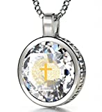 """925 Sterling Silver Cross Necklace with Psalm 23 Inscribed in 24k Gold on Cubic Zirconia Christian Pendant, 18"""" - NanoStyle Jewelry"""