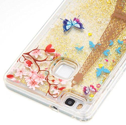 Para Huawei P9Lite móvil, 3d fließen líquido para trucha, arenas movedizas estrella Bling Lujo Shiny brillo Sparkle Cristal Crystal Multicolor de amor diseño Satisfacción Bolsa Funda Para Huawei P9L 7