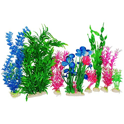 Otterly Pets Plastic Plants for Fish Tank Decorations Large Artificial Aquarium Decor and Accessories (Pink and Blue 8-Pack)