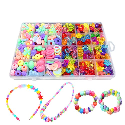 Bead KidsSet For Jewelery Making - Craft Beads kits For Little Girls DIY Necklaces Bracelet Children Games Colorful Acrylic Handmade Beaded Set Accessories Gift For Kids(color4),HUATK - Bead Craft Kits