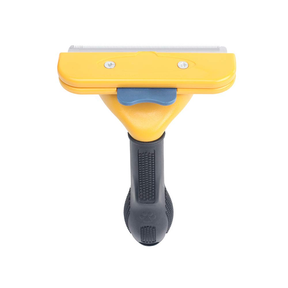 XMM Dog Comb Shedding Brush Pet Deshedding Brush Professional Grooming Tool Effectively Reduces Shedding by Up to 95% (Yellow),L