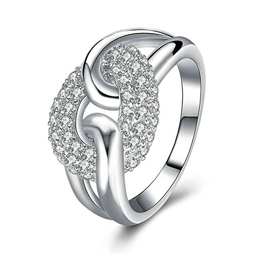 Beydodo Bridal Wedding Rings Jewelry Hollow Ring Round White Cubic Zirconia Size 8 Anniversary Gift (Collection Votivo Color)