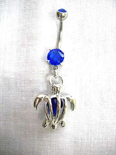 Honu SEA Turtle w Caged Blue Crystal on Cobalt Blue 14g Belly Ring Barbell ()