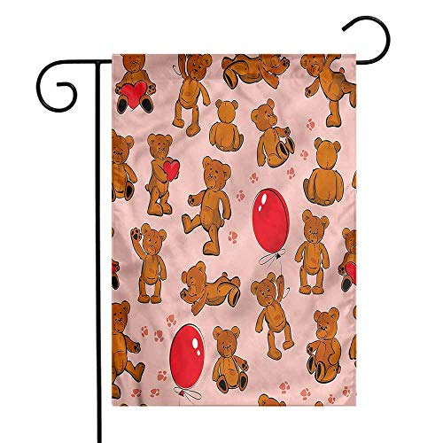 - funkky Kids Garden Flag Vintage Teddy Bear Pattern Premium Material 12