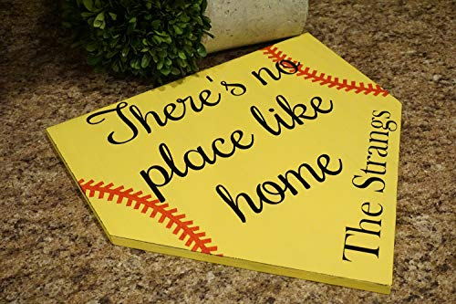 There's No Place Like Home Softball Door Hanger Personalized Door Hanger Sports Door Hanger Family Name Door Hanger Softball Home Plate