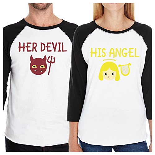365 Printing Her Devil His Angel Matching Graphic Raglan Tees Cute Couples Gifts