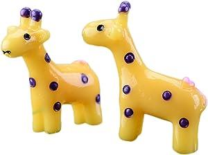 Freedi 2 PCS Mini Deer Crafts Fairy Garden Miniatures Micro Landscape Decorations DIY Doll House Décor