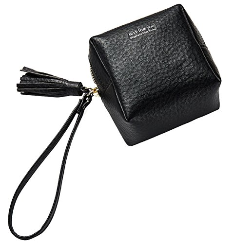FEMAROLY Geunine Leather Female Handbags Skull Wallet Large-capacity Coin Pokect Cute Mini Purse With Wrist Strap Credit card Clutch for Women and Girls Black