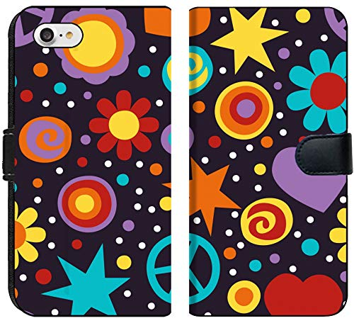 Apple iPhone 7 and iPhone 8 Flip Fabric Wallet Case Image 19492646 Colorful Hippie Seamless Pattern with Peace Signs Hearts and Flowers