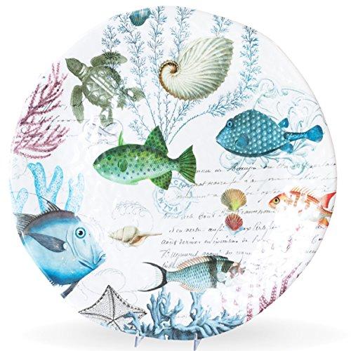 - Michel Design Works Melamine Large Round Serving Platter, Sea Life