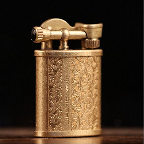 (Youfeel Vintage Cigarette Kerosene Lighter Table Handmade Retro Metal Brass Lighter)