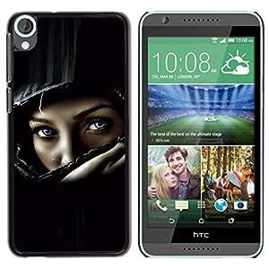 iBinBang / Funda Carcasa Cover Skin Case - Casco del polluelo del motorista muchacha mujer Negro - HTC Desire 820