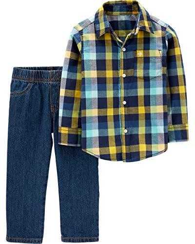 (Carter's Boys' 2T-4T 2-Piece Plaid Shirt and Pants Sets (Navy/Yellow/Denim, 4T))