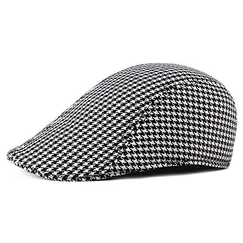 L.W.SUSL Men Winter Newsboy Cotton Plaid Flat Cap Outdoors Ivy Check Gatsby British Duckbill Retro Irish Cap (Color : 1, Size : Free Size)