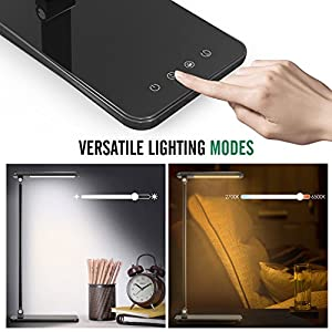 MoKo Dimmable LED Desk Lamp, 8W Touch-Sensitive Control Eye-Caring Working / Reading Table Lamp, Continuously Dimmable Brightness & Color Temperature, 1-Hour Auto Timer, Adjustable Arm & Head - BLACK