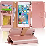 Arae iPhone 6s Case, iPhone 6 case, Apple iPhone 6 / 6s [Wrist Strap] Flip Folio [Kickstand Feature] PU Leather Wallet case with ID&Credit Card Pockets (Rosegold)