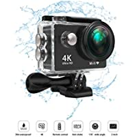 LayDUS Sports Action Camera 4K WIFI Waterproof Dual Display HD Video Camera for Car Dashboard with 170 Degree Wide Angel Lens and Full Accessories Kits Micro SDHC card included