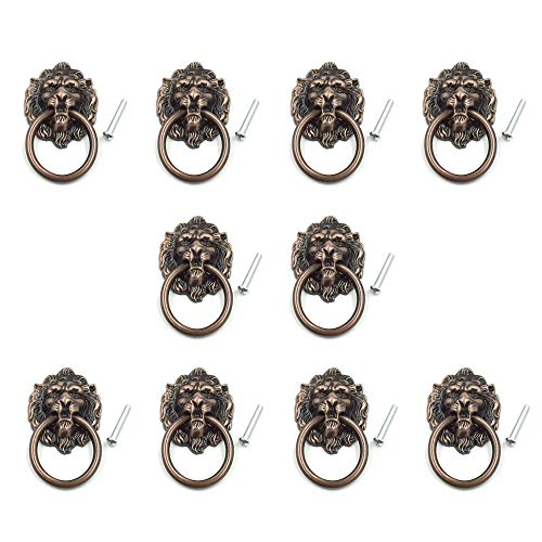 Cyful Lion Head Dresser Drawer Cabinet Door Ring Lion Head Pull Handle Knob Copper Tone - (10 Pcs) ()