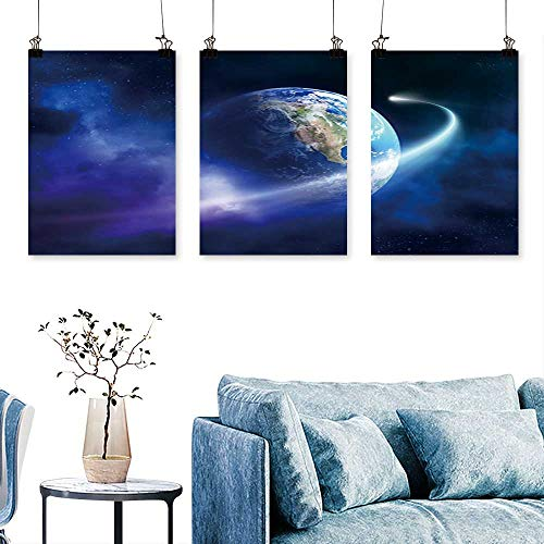 SCOCICI1588 3-Piece Modern Comet Passing Earth in a Nebula Cloud (Earth uv map from httpvisibleearth.NASA.Gov) Print On Canvas No Frame 16 INCH X 40 INCH X 3PCS ()
