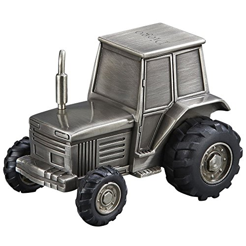 Pewter Tractor Bank - Tractor Replica Non-Tarnish Brushed Pewter Finish Keepsake Coin Bank