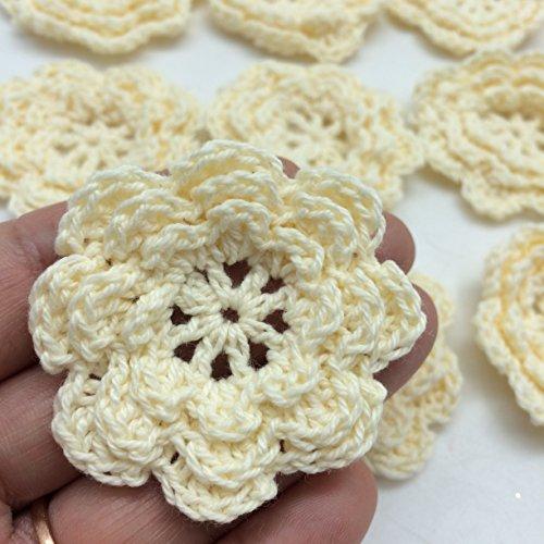 PEPPERLONELY Brand 20PC Cream 8 Petals 2 Inch Crocheted Flower Appliques (Petal Applique)