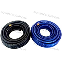 25 ft OFC 4 Gauge Oversized 12.5 BLUE & 12.5 BLACK Power Ground Wire Sky High Car