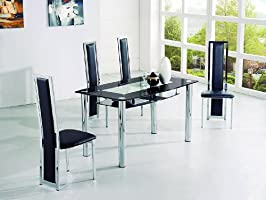 Mesa de comedor grande diseño italiano Rimini - cristal negro ...
