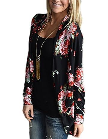 7518a16285fe ECOWISH Womens Boho Irregular Long Sleeve Wrap Kimono Cardigans Casual  Coverup Coat Tops Outwear White S