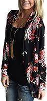 ECOWISH Womens Boho Irregular Long Sleeve Wrap Kimono Cardigans Casual Coverup Coat Tops Outwear S-3XL