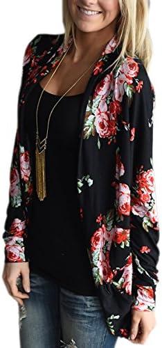ECOWISH Chamarra estilo boho de corte irregular, de manga larga, estilo kimono, con estampado floral, para mujer, tallas S-3XL