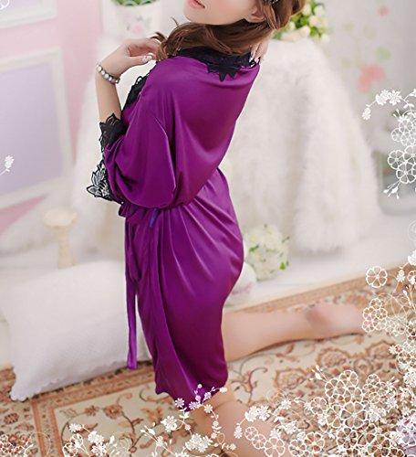 V Vestaglia Da Corti Pizzo Huixin Con Abbigliamento Camicia Scollo Purple Donna Cintura Ragazza Accappatoio Mezza Manica Lingerie Notte Fashionable In Kimono Pigiami Raso YqFqXd