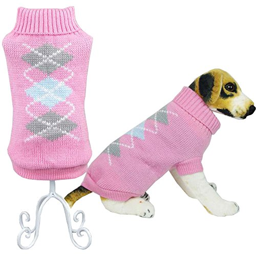 Bolbove Pet Classic Argyle Turtleneck Sweater for Small Dogs & Cats Knitwear (Pink, X-Small) (Cats In Outfits)