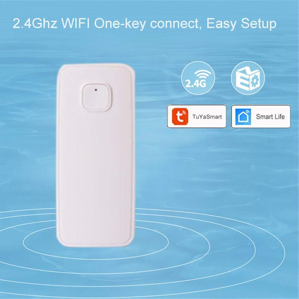 Detector de Fugas de Agua WiFi y Alarma con Alarma de Fuga de Agua Adminitto88 Detector de inundaci/ón Alarma a Pilas para DP-WW001