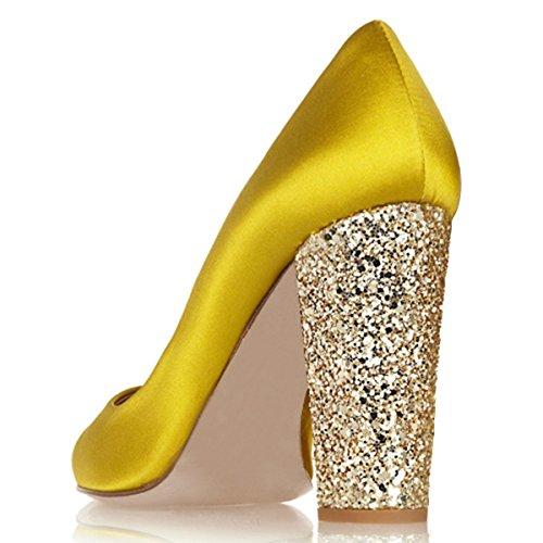 Xyd Donne Moda Glitter Tacco Grosso Pompe A Punta Tonda Slip On Wedding Party Dress Shoes Yellow