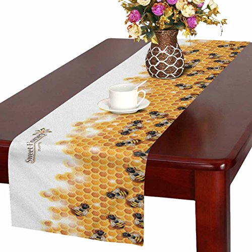 InterestPrint Funny Sweet Honey Bees on Honeycomb Spring Season Art Table Runner Cotton Linen Cloth Placemat Home Decor for Home Kitchen Dining Wedding Party 16 x 72 Inches