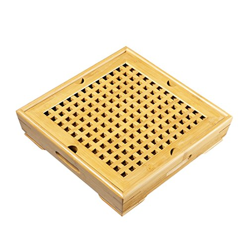 Tea Talent Reservoir Type Bamboo Tea Tray - Japanese / Chinese Gongfu Tea Table Serving Tray Box for Kungfu Tea Set 11 x 11 x 2.4 Inch, Original - Glasses Chooser